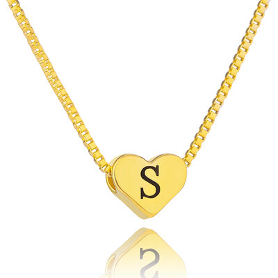 Christmas Gifts For Her - Custom 18k Gold Plated Vintage Heart Necklace Initial Necklace Engraved Necklace