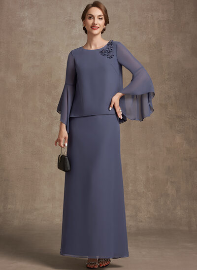 A-Line Scoop Neck Ankle-Length Chiffon Mother of the Bride Dress With Flower(s)