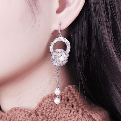 Ladies' Shining Copper/Platinum Plated Cubic Zirconia/Imitation Pearls Earrings For Bridesmaid/For Couple