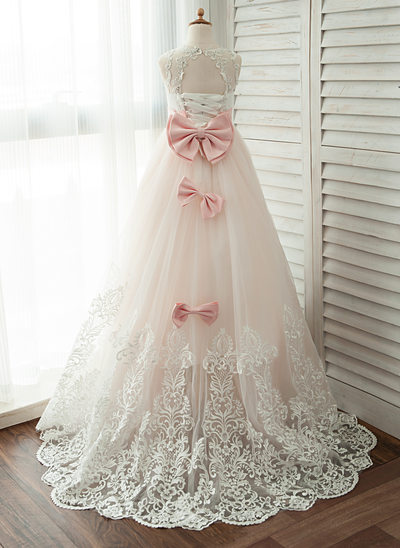 Ball-Gown Scoop Neck Chapel Train Tulle Junior Bridesmaid Dress With Lace Beading Bow(s)