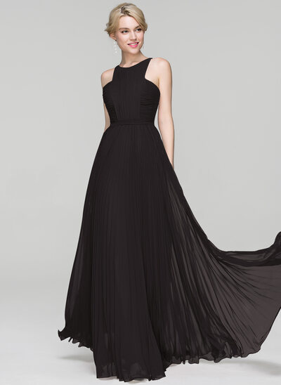 A-Line/Princess Scoop Neck Floor-Length Chiffon Evening Dress With Split Front Pleated