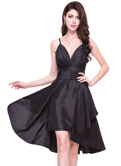 A-Line V-neck Detachable Taffeta Cocktail Dress With Ruffle