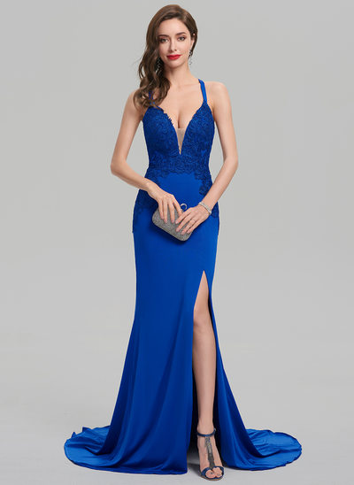 Sheath/Column V-neck Sweep Train Jersey Prom Dress With Split Front