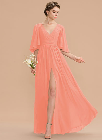 A-Line V-neck Floor-Length Chiffon Evening Dress With Ruffle Bow(s) Split Front