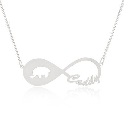 [Free Shipping]Custom Sterling Silver Infinity Animal Name Necklace Infinity Name Necklace (288211233)