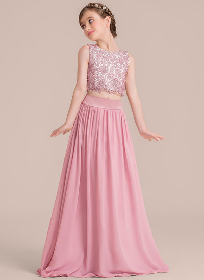 58b55ab20 A-Line/Princess Scoop Neck Floor-Length Chiffon Junior Bridesmaid Dress