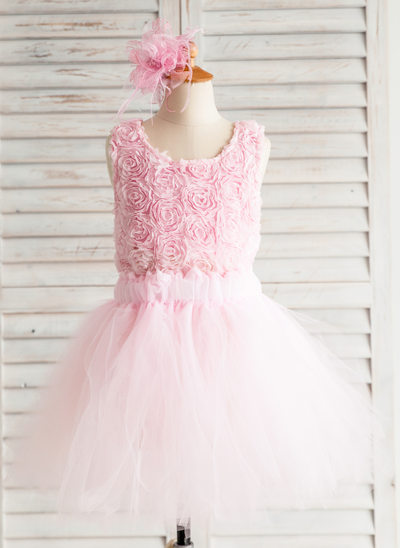 A-Line/Princess Knee-length Flower Girl Dress - Satin/Tulle Sleeveless Scoop Neck With Flower(s)