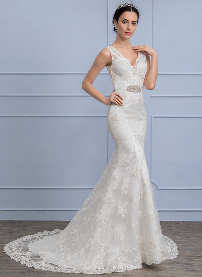 Trumpet/Mermaid V-neck Sweep Train Lace Wedding Dress With Beading
