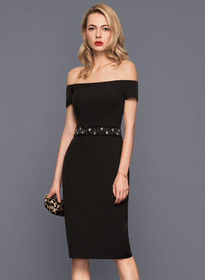 Sheath/Column Off-the-Shoulder Knee-Length Satin Cocktail Dress With Beading Sequins