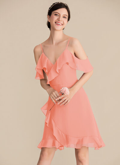 A-Line/Princess V-neck Knee-Length Chiffon Bridesmaid Dress With Cascading Ruffles