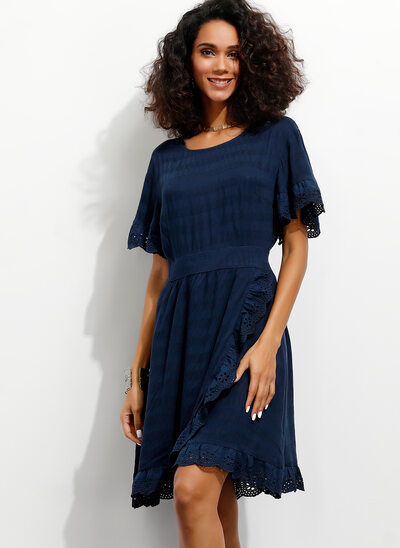 A-Line Scoop Neck Knee-Length Cotton Cocktail Dress