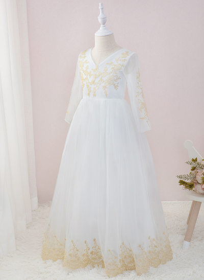 A-Line Floor-length Flower Girl Dress - Tulle/Lace Long Sleeves V-neck
