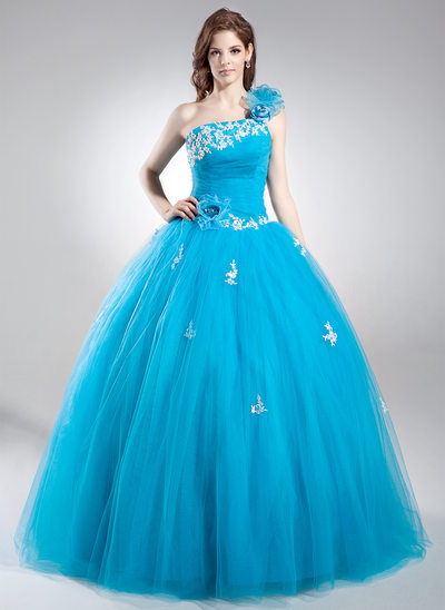 Ball-Gown One-Shoulder Floor-Length Tulle Quinceanera Dress With Beading Appliques Lace Flower(s) Sequins