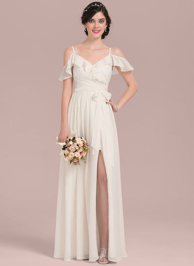 A-Line V-neck Floor-Length Chiffon Wedding Dress With Bow(s) Split Front Cascading Ruffles