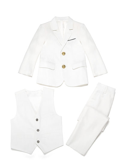 Boys Elegant Ring Bearer Suits With Jacket Vest Pants