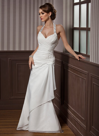 Sheath Column Halter Floor Length Chiffon Satin Wedding Dress With Beading Appliques Lace Sequins