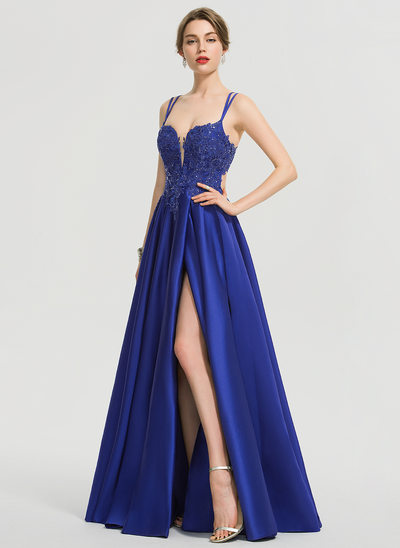 A-Line V-neck Floor-Length Satin Evening Dress With Sequins Split Front