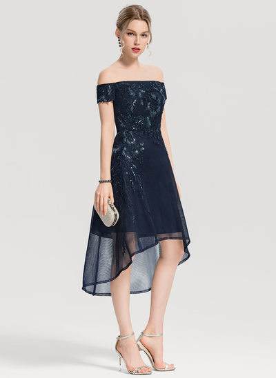 A-Line Off-the-Shoulder Asymmetrical Tulle Cocktail Dress With Appliques Lace Sequins