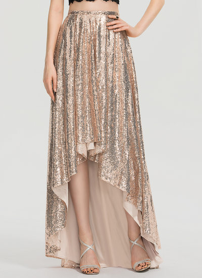 A-Line Asymmetrical Sequined Prom Skirt