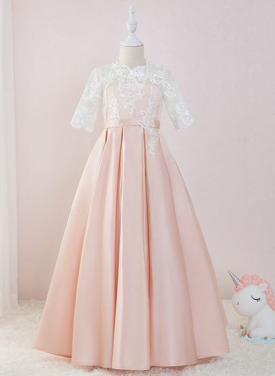 Ball-Gown/Princess Floor-length Flower Girl Dress - Satin/Lace 1/2 Sleeves Scoop Neck