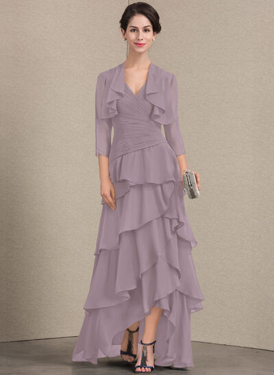 A-Line/Princess V-neck Asymmetrical Chiffon Mother of the Bride Dress With Beading Sequins Cascading Ruffles