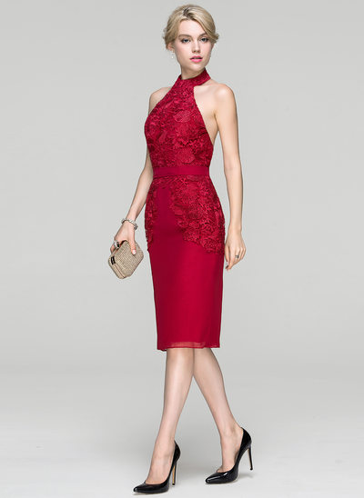 Sheath/Column Halter Knee-Length Chiffon Cocktail Dress