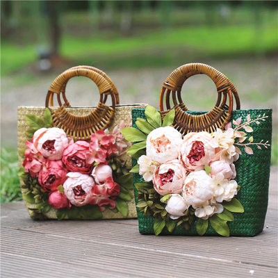 Bride Gifts - Vintage Graceful Porcelain Straw Tote Bag