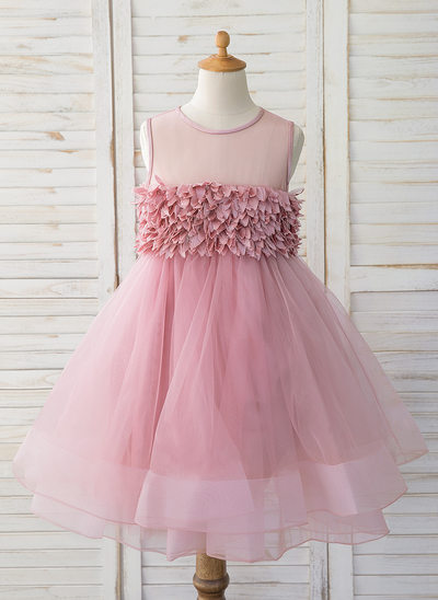 Ball-Gown/Princess Knee-length Flower Girl Dress - Tulle Sleeveless Scoop Neck