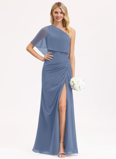 A-Line One-Shoulder Floor-Length Chiffon Bridesmaid Dress With Ruffle Split Front