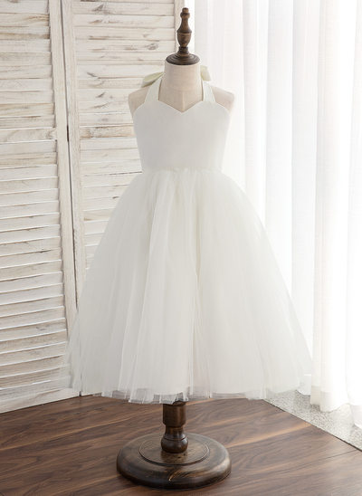 A-Line/Princess Knee-length Flower Girl Dress - Satin/Tulle Sleeveless Halter