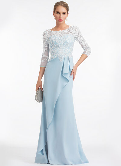 Sheath/Column Scoop Neck Floor-Length Stretch Crepe Evening Dress With Ruffle