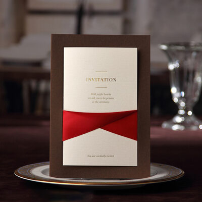 Personalized Side Fold Invitation Cards With Ribbons