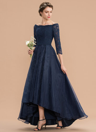 A-Line Off-the-Shoulder Asymmetrical Organza Lace Bridesmaid Dress With Ruffle