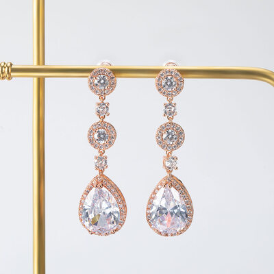 Gorgeous Alloy/Zircon Ladies' Earrings
