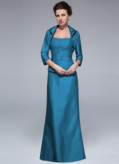 Sheath/Column Square Neckline Floor-Length Taffeta Mother of the Bride Dress With Ruffle Lace Beading