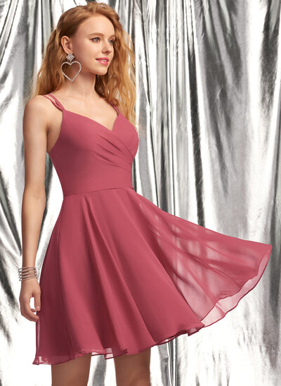 A-Line V-neck Short/Mini Chiffon Prom Dresses With Ruffle