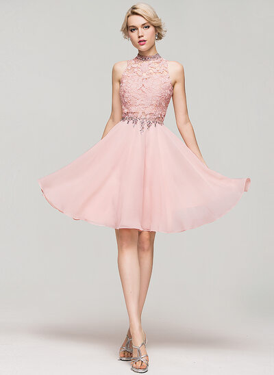 A-Linie/Princess-Linie High Neck Knielang Chiffon Cocktailkleid mit Perlstickerei Pailletten