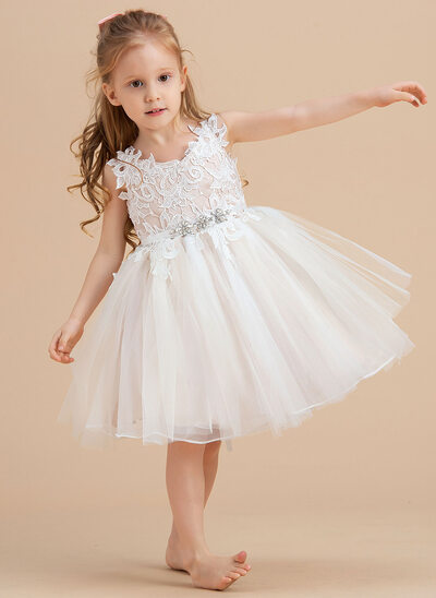 A-Line Knee-length Flower Girl Dress - Tulle/Lace Sleeveless V-neck With Rhinestone
