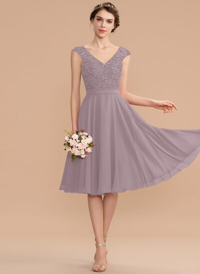 A-Line V-neck Knee-Length Chiffon Lace Prom Dresses With Beading