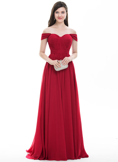 A-Line Off-the-Shoulder Sweep Train Chiffon Prom Dresses With Ruffle