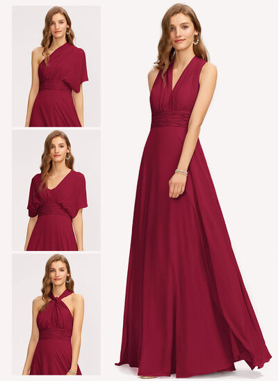 A-Line One-Shoulder V-neck Halter Floor-Length Chiffon Bridesmaid Dress With Ruffle