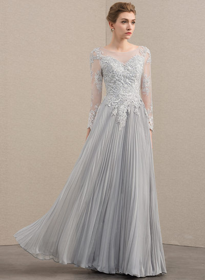 A-Line Scoop Neck Floor-Length Chiffon Lace Evening Dress With Beading Sequins Pleated