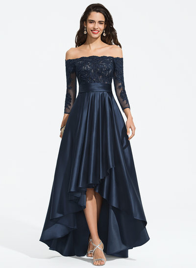 A-Line Off-the-Shoulder Asymmetrical Satin Homecoming Dress With Ruffle Sequins
