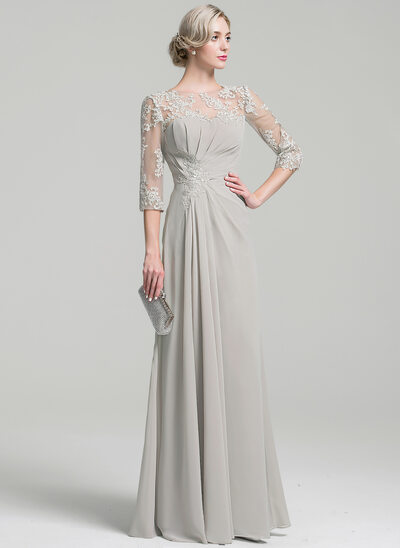 A-Line Scoop Neck Floor-Length Chiffon Mother of the Bride Dress With Ruffle