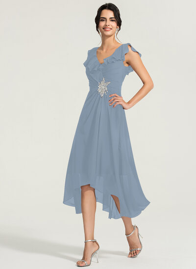 A-Line V-neck Asymmetrical Chiffon Cocktail Dress With Beading
