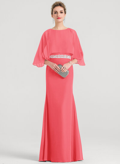 Sheath/Column Scoop Neck Floor-Length Chiffon Evening Dress With Beading Sequins