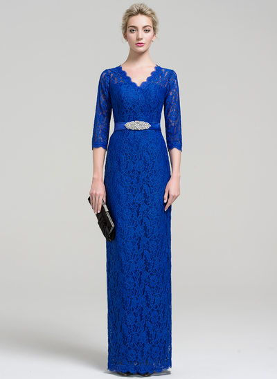 Sheath/Column V-neck Floor-Length Lace Evening Dress With Beading Split Front