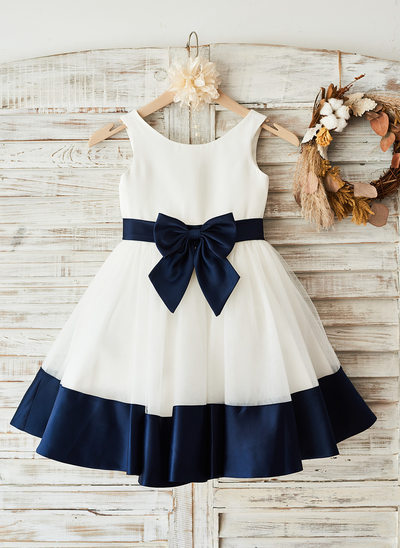 A-Line/Princess Knee-length Flower Girl Dress - Sleeveless Scoop Neck With Bow(s)