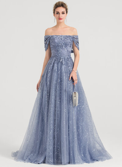 A-Line/Princess Off-the-Shoulder Sweep Train Tulle Evening Dress With Sequins