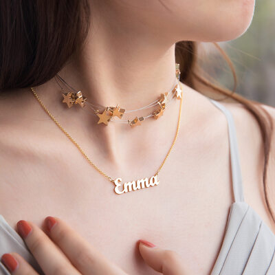 Custom 18k Gold Plated Silver Star Signature Name Necklace Choker Necklace (Set of 2) - Christmas Gifts